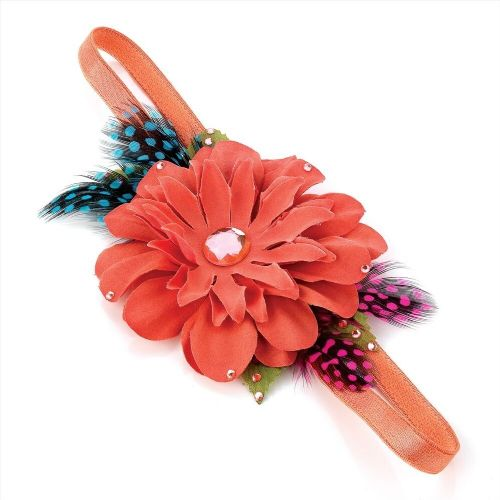 Dusky Pink Flower Stone and Feather Elastic Headband